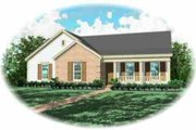 Traditional Style House Plan - 3 Beds 2 Baths 1281 Sq/Ft Plan #81-167 Exterior - Front Elevation
