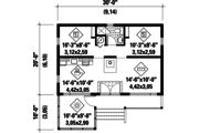 Country Style House Plan - 2 Beds 1 Baths 600 Sq/Ft Plan #25-4357 Floor Plan - Main Floor Plan