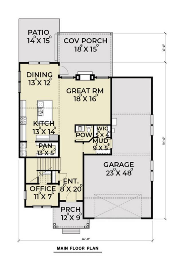Contemporary Floor Plan - Main Floor Plan Plan #1070-18
