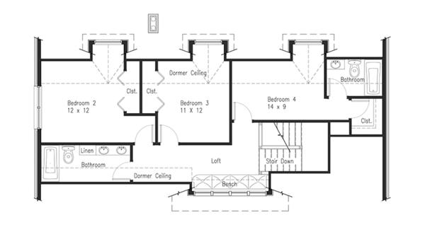 Dream House Plan - Craftsman Floor Plan - Upper Floor Plan #1063-1