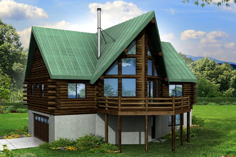 Dream House Plan - Log Exterior - Front Elevation Plan #124-951