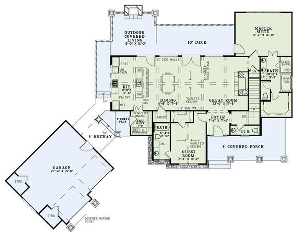 Craftsman Floor Plan - Main Floor Plan Plan #17-2504