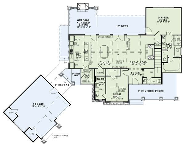 House Plan Design - Craftsman Floor Plan - Main Floor Plan #17-2504