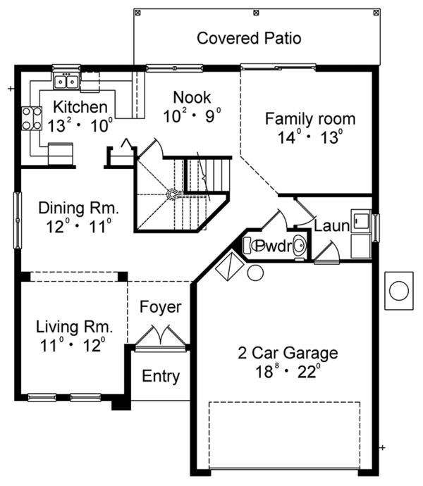 Mediterranean Floor Plan - Main Floor Plan Plan #417-834