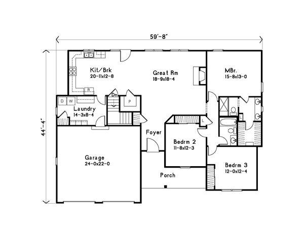 Dream House Plan - Ranch Floor Plan - Main Floor Plan #22-626