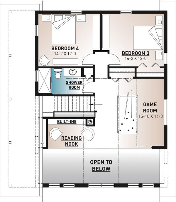 Cottage Floor Plan - Upper Floor Plan Plan #23-2718
