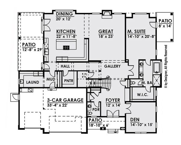 Craftsman Floor Plan - Main Floor Plan Plan #1066-26
