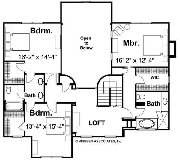 Traditional Floor Plan - Upper Floor Plan Plan #928-46