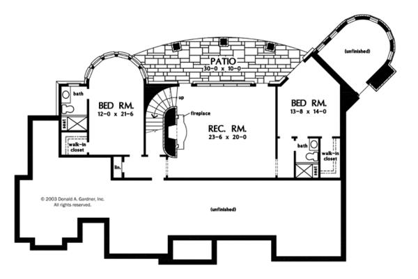 Craftsman Floor Plan - Lower Floor Plan Plan #929-931