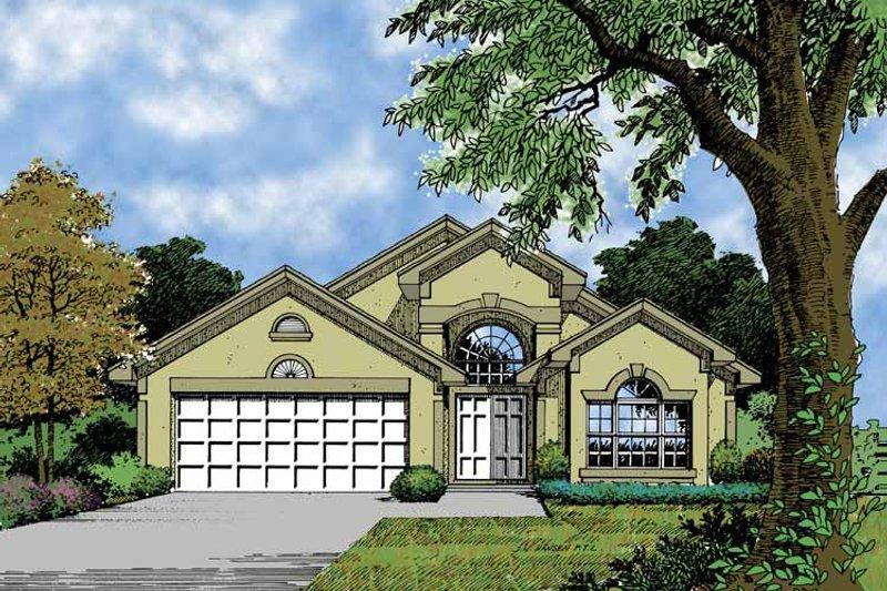 Dream House Plan - Mediterranean Exterior - Front Elevation Plan #417-624