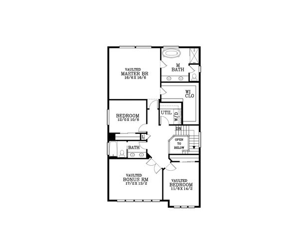 Craftsman Floor Plan - Upper Floor Plan Plan #53-587