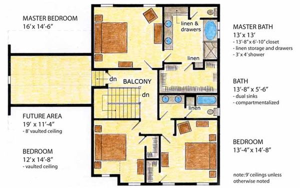 Country Floor Plan - Upper Floor Plan Plan #410-3564