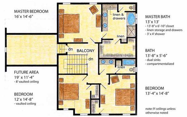 Home Plan - Country Floor Plan - Upper Floor Plan #410-3564