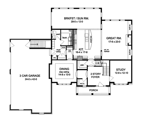 Colonial Floor Plan - Main Floor Plan Plan #1010-177