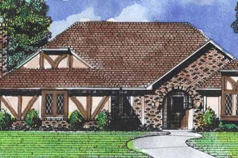 Dream House Plan - Tudor Exterior - Front Elevation Plan #320-847