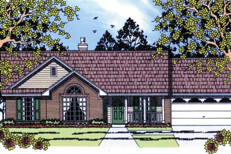 Country Exterior - Front Elevation Plan #42-588
