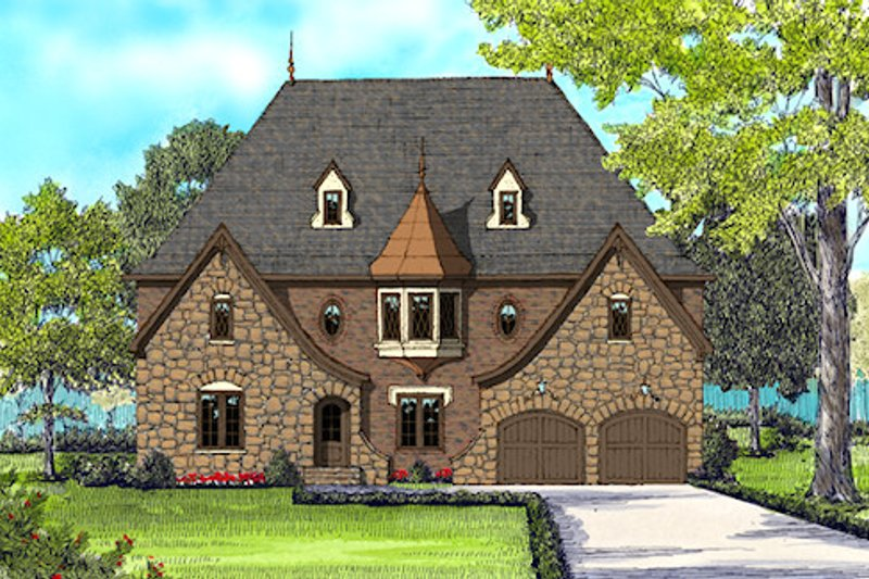 European Exterior - Front Elevation Plan #413-892