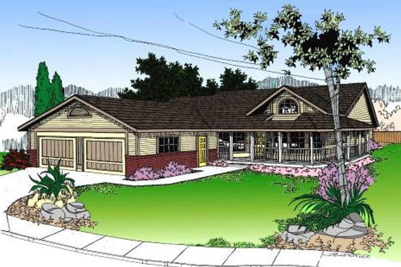 Country Style House Plan - 3 Beds 2 Baths 1485 Sq/Ft Plan #60-148 Exterior - Front Elevation
