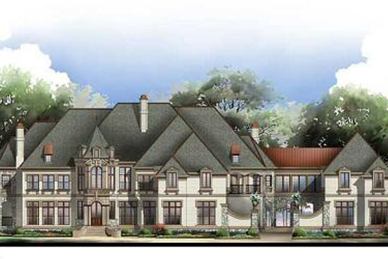 European Style House Plan - 6 Beds 8.5 Baths 7618 Sq/Ft Plan #119-172 Exterior - Front Elevation