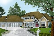 European Style House Plan - 5 Beds 2.5 Baths 3990 Sq/Ft Plan #100-206 Exterior - Front Elevation