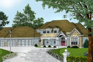 European Exterior - Front Elevation Plan #100-206