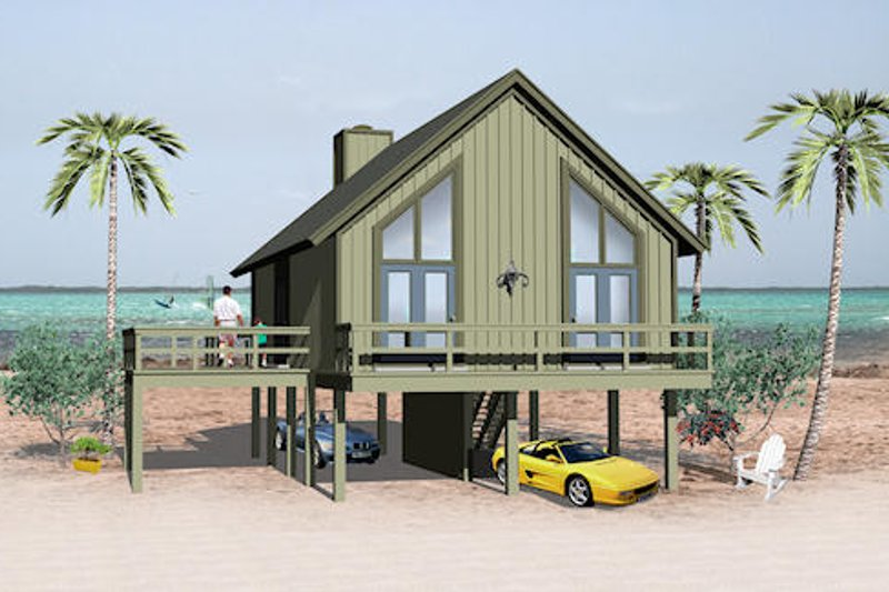 Beach Style House Plan - 2 Beds 1 Baths 841 Sq/Ft Plan #81-13765 Exterior - Front Elevation