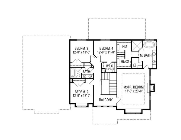 Craftsman Floor Plan - Upper Floor Plan Plan #920-74