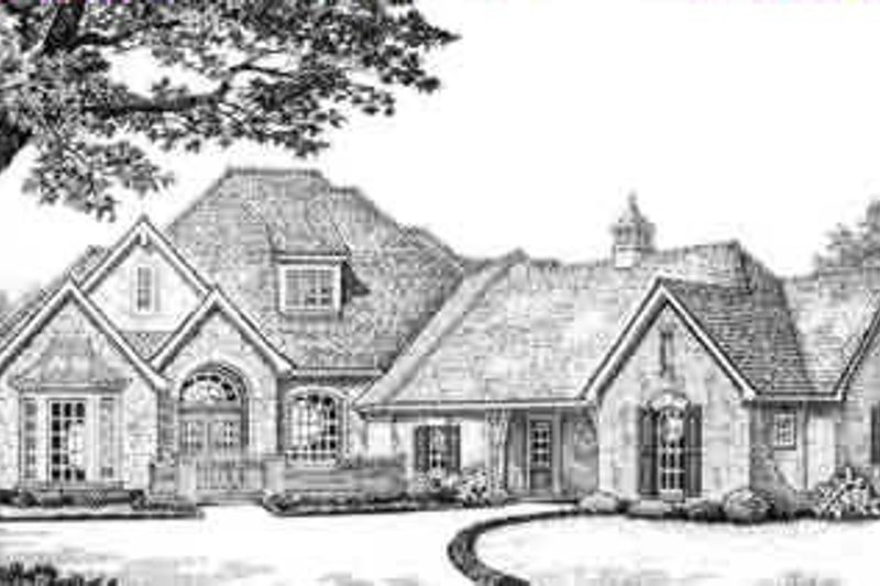 European Style House Plan - 4 Beds 3.5 Baths 3070 Sq/Ft Plan #310-392 Exterior - Front Elevation