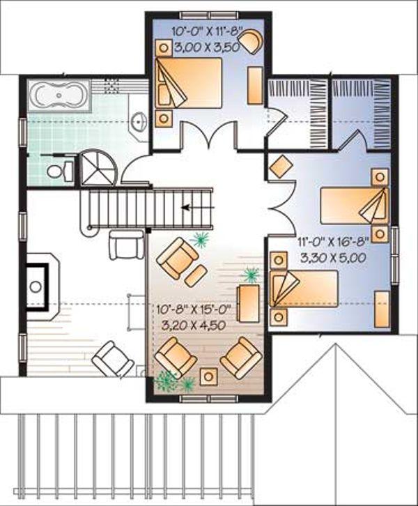 Traditional Floor Plan - Upper Floor Plan Plan #23-2174