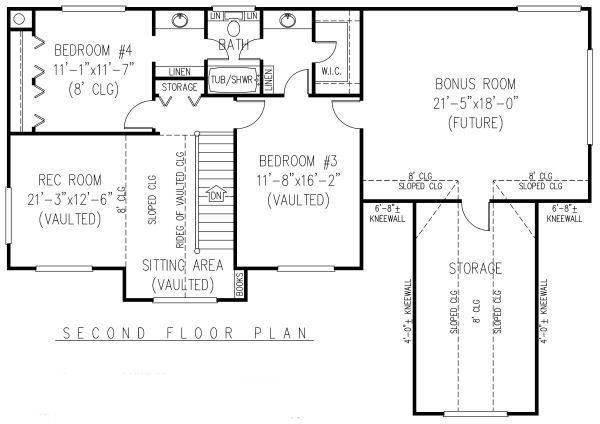 Country Floor Plan - Upper Floor Plan Plan #11-222