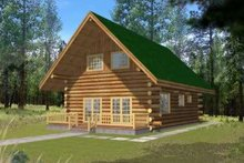 Dream House Plan - Log Exterior - Front Elevation Plan #117-476