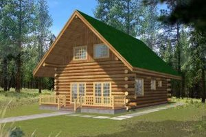 Log Exterior - Front Elevation Plan #117-476