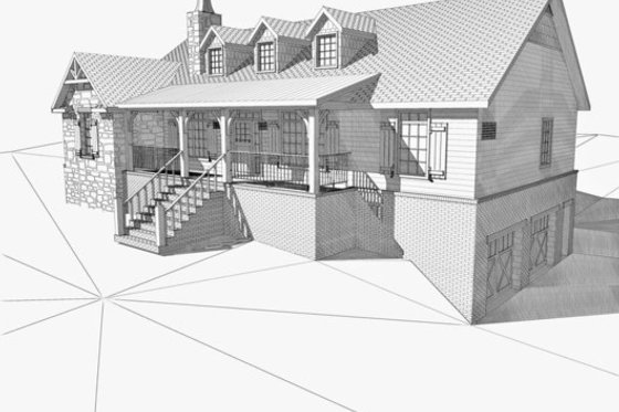 Cabin Exterior - Front Elevation Plan #123-113