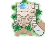 Mediterranean Style House Plan - 4 Beds 4.5 Baths 5275 Sq/Ft Plan #27-516 Floor Plan - Main Floor Plan
