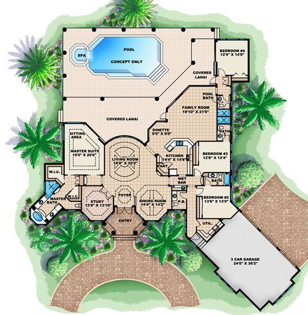 Mediterranean Floor Plan - Main Floor Plan Plan #27-516