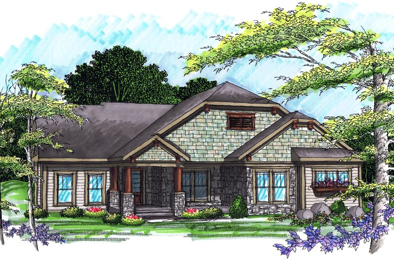 Ranch Exterior - Front Elevation Plan #70-1039