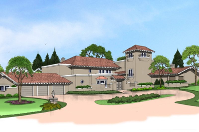 Mediterranean Style House Plan - 4 Beds 5 Baths 6568 Sq/Ft Plan #515-26 Exterior - Front Elevation