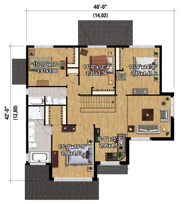 Contemporary Floor Plan - Upper Floor Plan #25-4339
