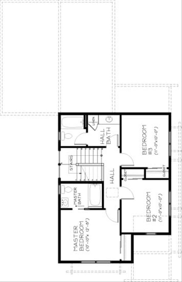 Craftsman Floor Plan - Upper Floor Plan Plan #434-19