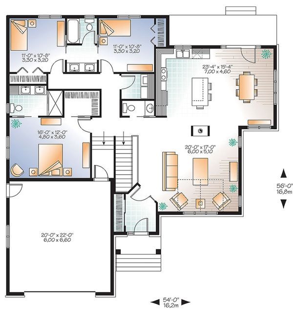Ranch Floor Plan - Main Floor Plan Plan #23-2622