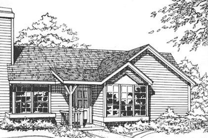 Ranch Style House Plan - 2 Beds 2 Baths 1016 Sq/Ft Plan #320-325 Exterior - Front Elevation