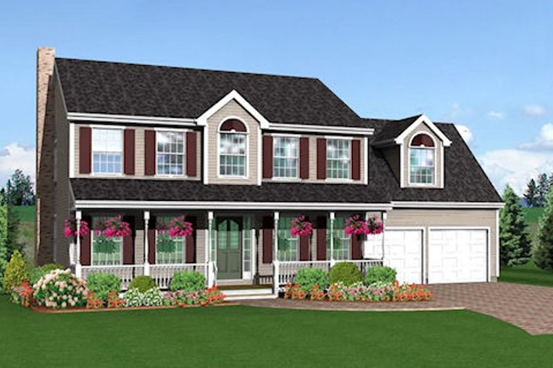 Farmhouse Style House Plan - 3 Beds 2.5 Baths 2012 Sq/Ft Plan #75-141 Exterior - Front Elevation