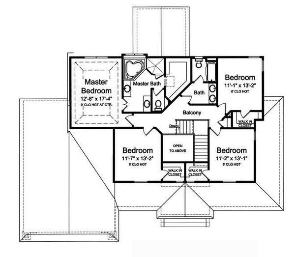 Country Floor Plan - Upper Floor Plan Plan #46-488
