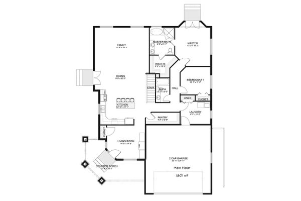 Ranch Floor Plan - Main Floor Plan Plan #1060-40