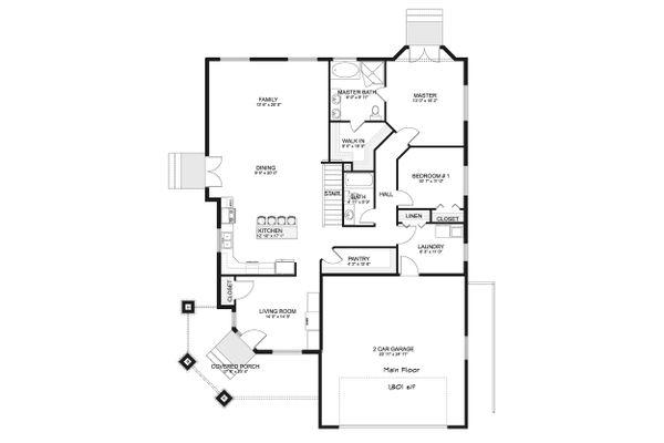 Ranch Floor Plan - Main Floor Plan Plan #1060-40