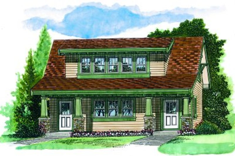 Bungalow Style House Plan - 1 Beds 1 Baths 905 Sq/Ft Plan #47-638 Exterior - Front Elevation
