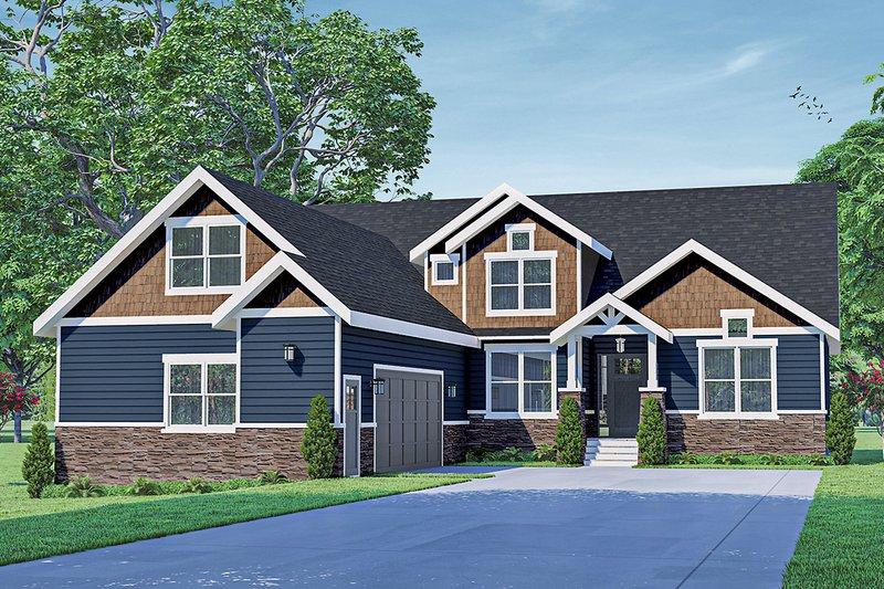 Architectural House Design - Craftsman Exterior - Front Elevation Plan #124-1252