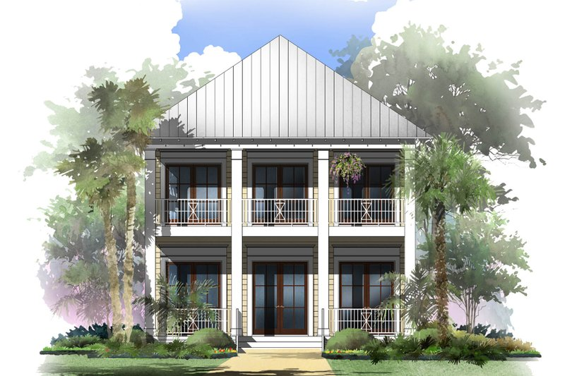 Beach Exterior - Front Elevation Plan #430-120