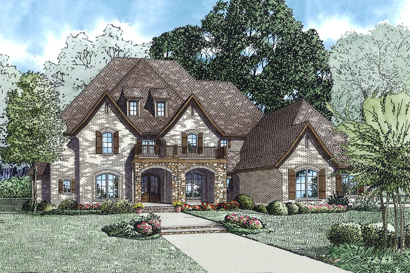 European Style House Plan - 5 Beds 4.5 Baths 4830 Sq/Ft Plan #17-2568 Exterior - Front Elevation