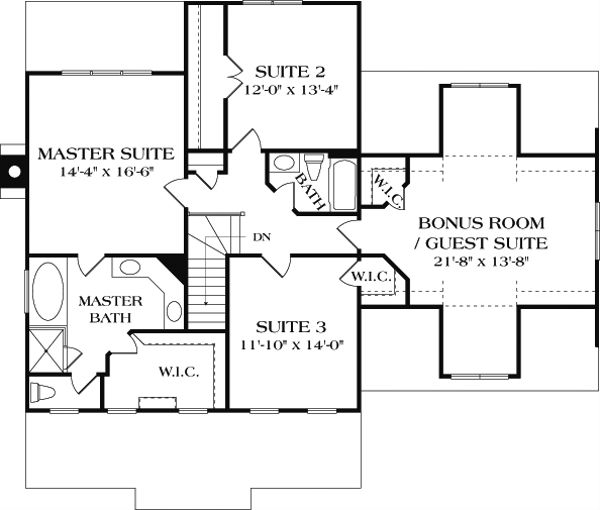 Craftsman Floor Plan - Upper Floor Plan Plan #453-7